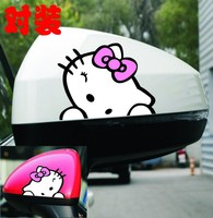 2Pcs/Pair 7.5*5.5cm/Piece Hello Kitty Car styling Car Sticker Decals Decoration Car Accessories Wiper Reflective Sticker