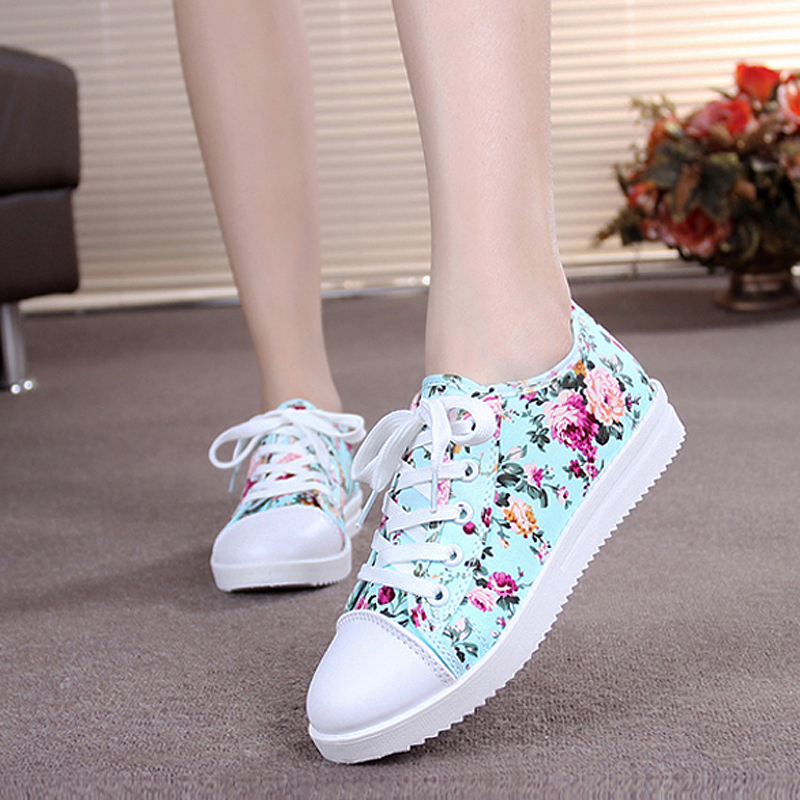 2015 Women canvas shoes ladies fashion flower floral sneakers low heels loafers sport shoe casual sapatenis tenis feminino FV339(China (Mainland))