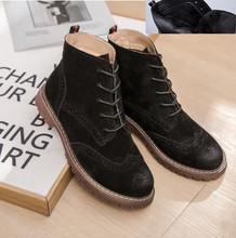 Kadın ayakkabı 2020 bahar hakiki deri kadın Martin çizmeler süet kadın patik İngiliz dantel retro trend kadın naked boots(China)