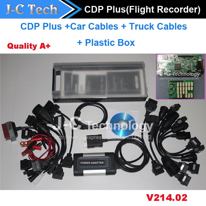 Best quality for 2014.2 TCS cdp pro plus+ software plastic box LED and flight function and 16 full car cables and truck cables(China (Mainland))
