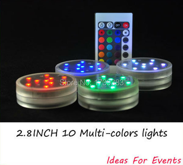 4pcs/lot Wholesale 2.8inch Submersible LED Light,10 Multi-colors LEDs,Remote Controlled,3AAA Batteries operated Floral Light(China (Mainland))