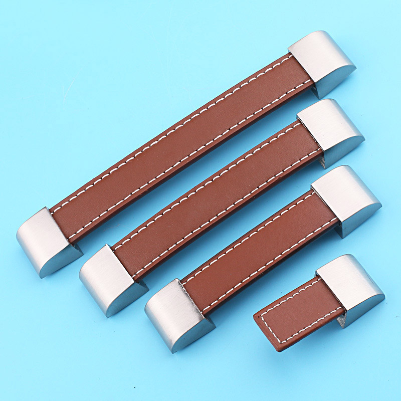 Brown Soft Leather Door Handles For Cabinet Wardrobe Cupboard Drawer Pull Knobs home Kitchen Accessories(China (Mainland))