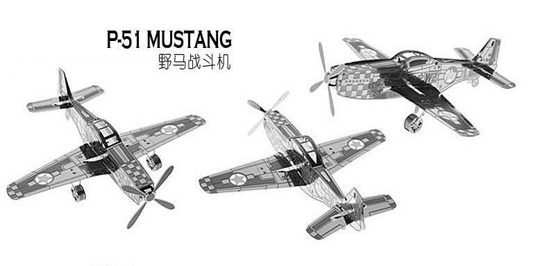 Classic P-51 Mustang DIY Metal Puzzle Model Education Toys for Children&Adults Best Gift,Free Shipping(China (Mainland))