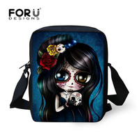 Cool Laldies Small Cartoon Messenger Bag,Women Cute Skull Printed Crossbody Bags,Girl Flower Design Mini Red Casual Shoulder Bag