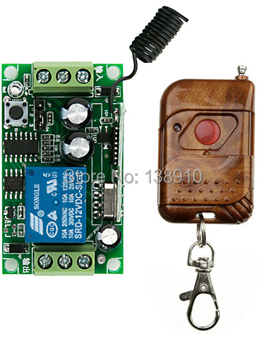 New DC12V 1CH 10A Remote Control Light Switch teleswitch Relay Output Radio Receiver Module and Transmitter Learning code<br><br>Aliexpress