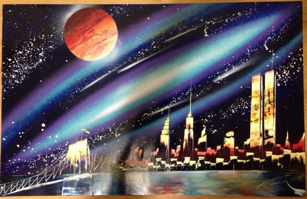 spray painting of new york skyline spray paint art in. Black Bedroom Furniture Sets. Home Design Ideas