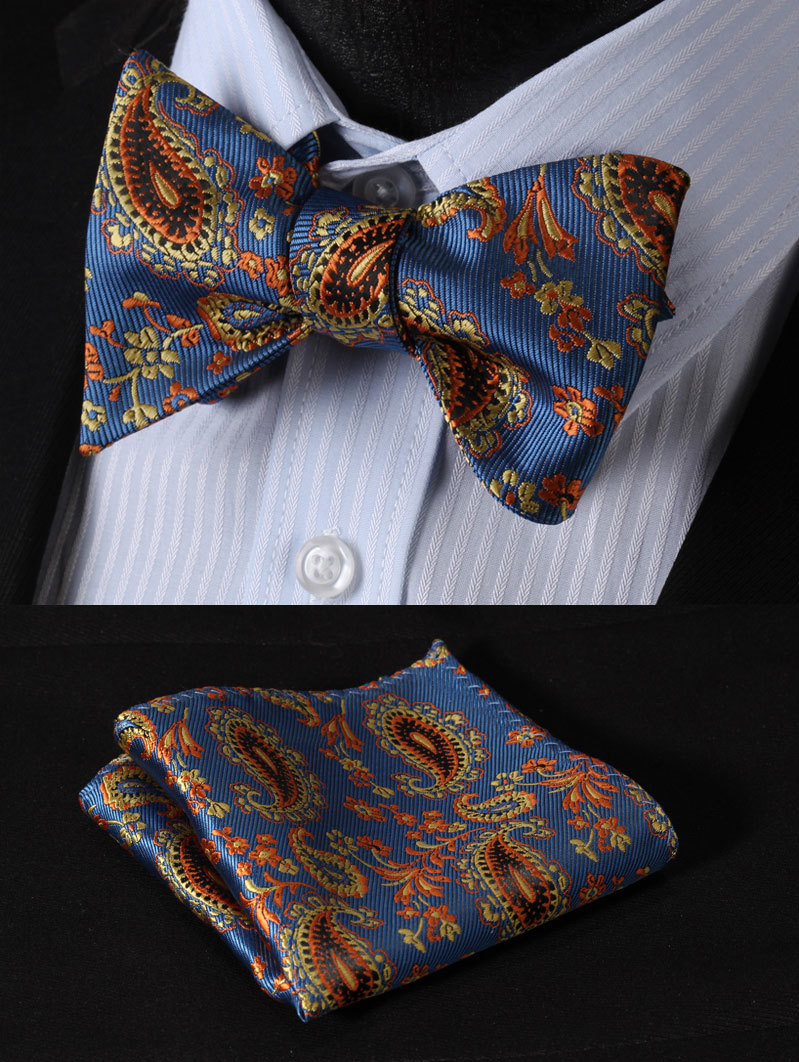 BF3023B Blue Yellow Paisley 100%Silk Jacquard Woven Men Butterfly Self Bow Tie BowTie Pocket Square Handkerchief Hanky Suit Set - HISDERN store