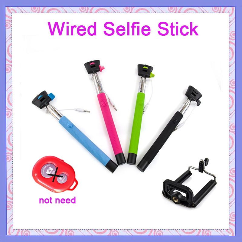 buy extendable audio cable wired selfie stick handheld monop. Black Bedroom Furniture Sets. Home Design Ideas