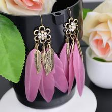 Buy Bohemian Women's Vintage Leaf Feather Hook Drop Earring Long Dangle Earrings Flower Crystal Design Wholesale Bijoux for $1.02 in AliExpress store
