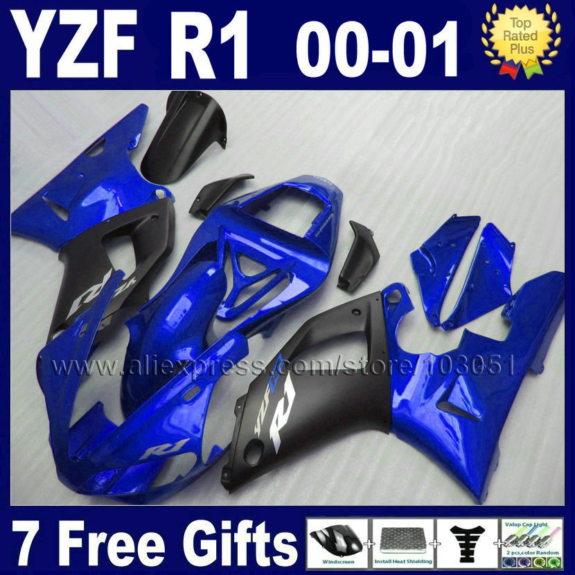 7gifts Custom fairing kits for 2000 2001 YAMAHA YZF R1 00 01 YZFR1 fairings YZF1000R matte black aftermarket body  parts<br><br>Aliexpress