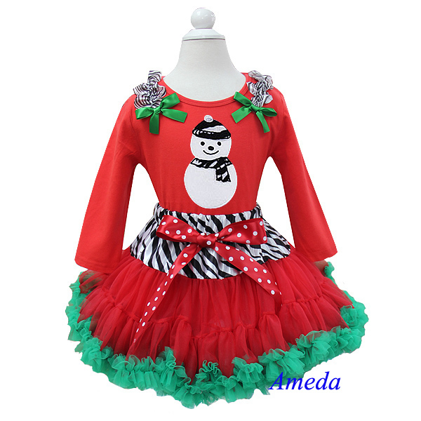 Xmas Clothing Zebra Snow Man Red Long Sleeves Top with Zebra Red Green Pettiskirt 2 pcs Set 1-7Y(Hong Kong)
