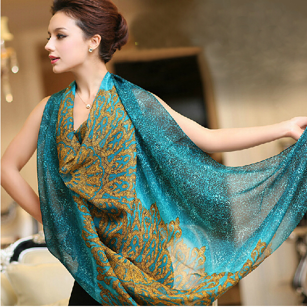 Female peacock blue Silk Scarf Shawl Fashion Mulberry Silk Large Square Silk Scarves All-Match Women Silk Muffler 135*135cm(China (Mainland))