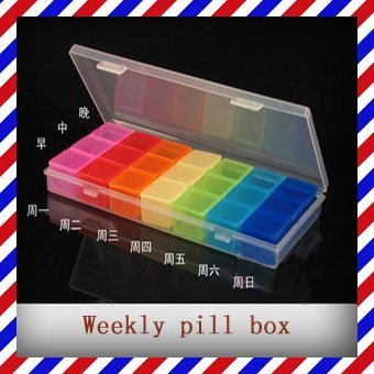 2015 Rushed Pill Organizer Box For Tablets Free Shipping Rainbow Portable Seven Days Pill Box Travel Medicine Case Weekly Cases