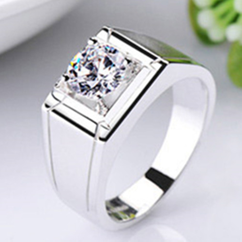 Pure Silver 0.5CT Men Ring Synthetic Diamond Jewelry Male Engagement Ring Husband Sterling Silver Wedding Ring Platinum Plated(China (Mainland))