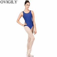 OVIGILY Черный Танк Купальник для гимнастики Для женщин спандекс лайкра рукавов трико одежда для бальных танцев овальным вырезом короткие бод...(China)