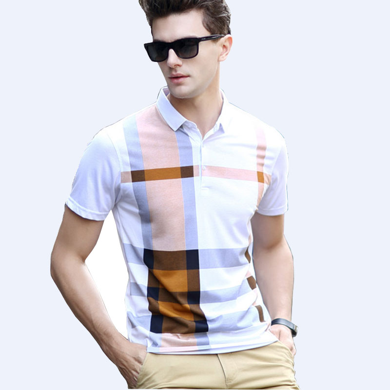2016 Summer Men Polo Shirts Plaid Patchwork Short Sleeve Cool Mercerized Cotton Slim Fit Casual Business Men Shirts Brand polos(China (Mainland))