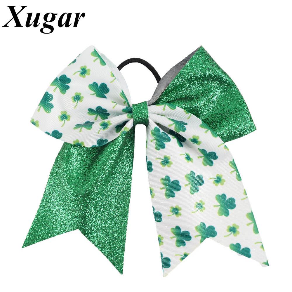 Ha hair bow ribbon wholesale - 7 Trendy Glitter Ribbon Patchwork Cheer Bow St Patrick S Day Big Hair Bow
