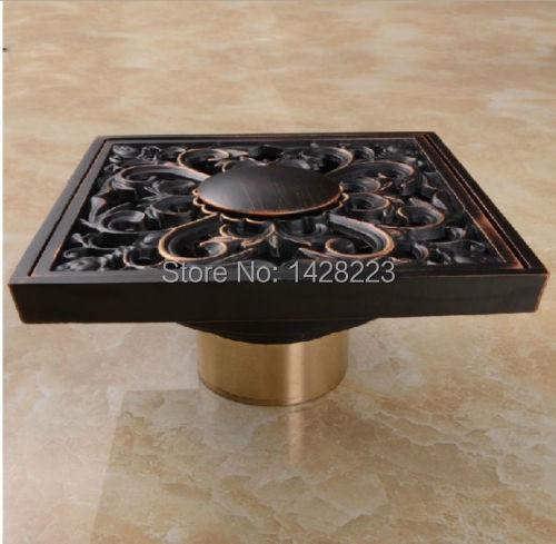 "Modern New Designed Square Shape Oil Rubbed Bronze Flower Art Bathroom Shower Floor Drain Washer Grate Waste Drain 4""(China (Mainland))"