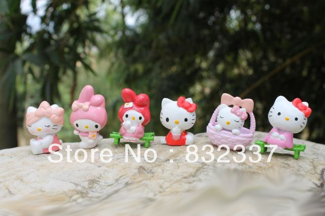 High Quality PVC Cute Hello Kitty font b anime b font figures 6pcs set Toys Free
