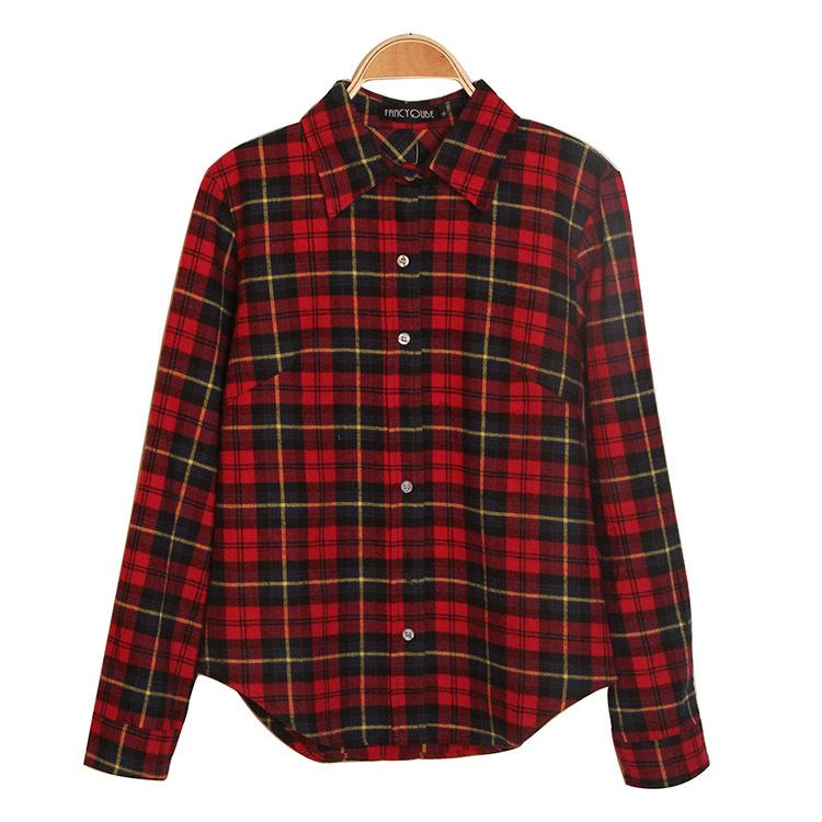 2015 New Fashion Womens Tops Casual Blouse Turndown Collar Long Sleeve Plaids Print Pattern Flannel Shirt J3820(China (Mainland))