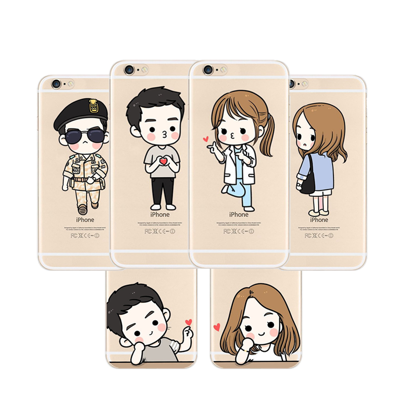Clear Ultra Thin Cartoon Phone Case Couple Boy & Girl Lovely Case for iPhone 5/5s/SE 6/6s 6 Plus/6s Plus(China (Mainland))