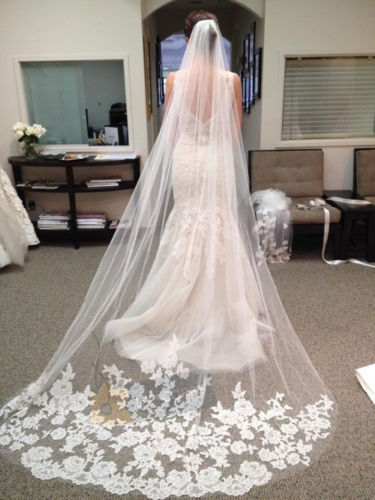 white/Ivory Beautiful Cathedral Length Lace Edge Wedding Bridal Veil With Comb(China (Mainland))