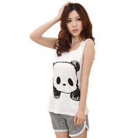 Newly Design 2015 New Fashion Cute Cartoon Vest Summer Pajamas Lady Casual Sleeveless Female Leisure Wear Suits