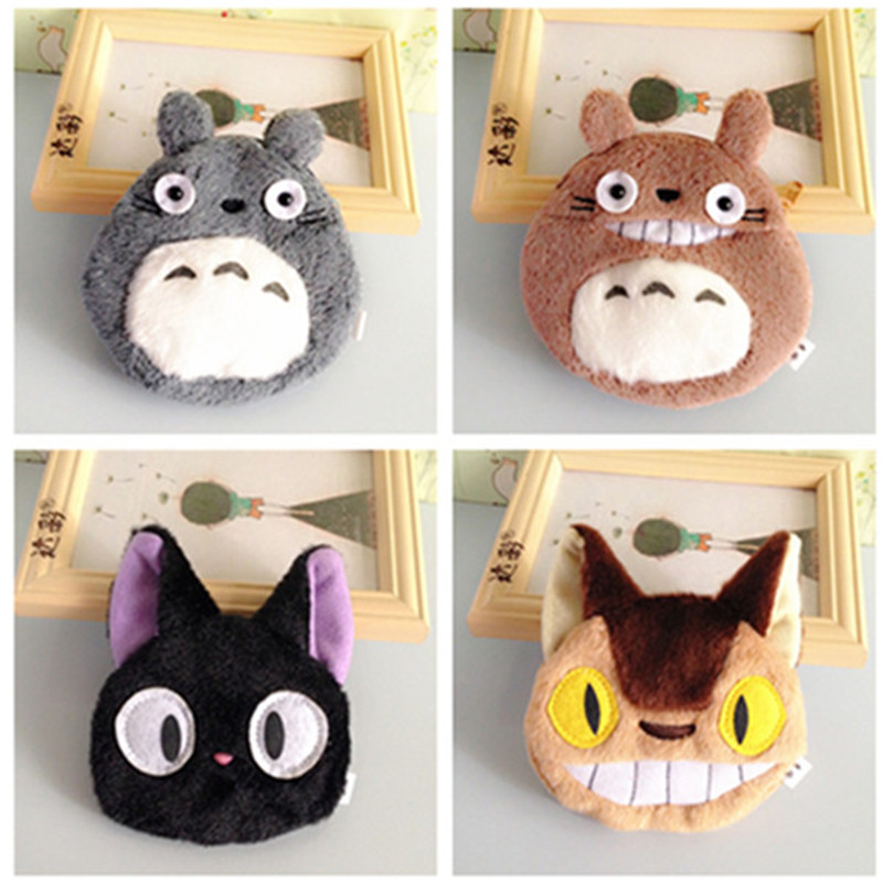 2016 new Brand Mini Coin Purse Kawaii Portable Cartoon Plush Totoro Bus Black Cat Cute Girls Wallet Travel Key Case Bags(China (Mainland))
