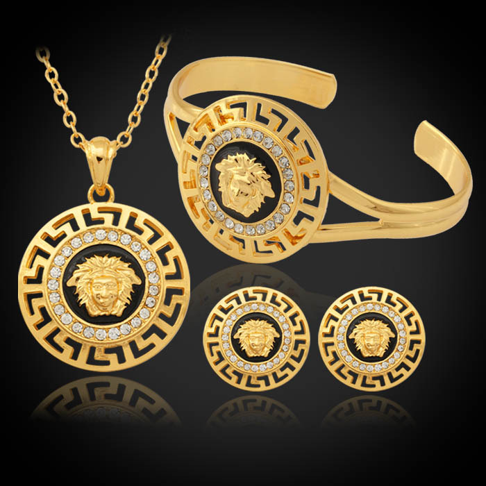 Jewelry Necklace Pendant Earrings Bangle 18K Gold Plated Hot New Vintage Lion Head Myth Rhinestone Fashion Jewelry Sets PEH643(China (Mainland))