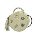 Nubuck MINI Round Bag 2016 New Fashion Tassels Shoulder Bag Metal Cartoon Letters Ornament Women Fashion