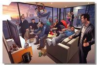 24X36 INCH / Grand Theft Auto 5 V Game Wall Silk Poster Big Promote Prints Boy Room 3 4 GTA GTA5 Girl Box Art (013)