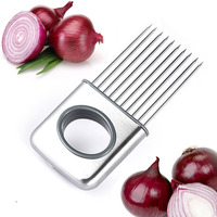 Brand new Easy Onion Holder Slicer Vegetable tools Tomato Cutter Stainless Steel Kitchen Gadgets No More Stinky Hands