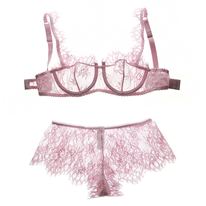 Fashion eyelash lace sexy thin transparent lace bra set underwear women set perspectivity plus size bras and panties