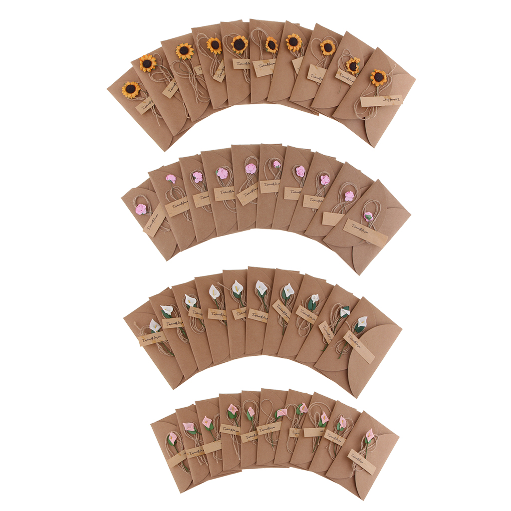 10 Pieces Vintage Kraft Handmade with Dried Flowers DIY Envelopes Gift Card Post Kit Mini Message Cards Set