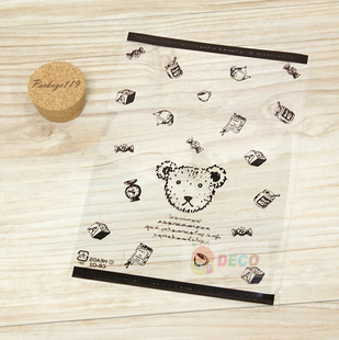 20*28cm Open-top gift plastic bags with cute bear printing Transparent bag Food packing bags (ss-6221)
