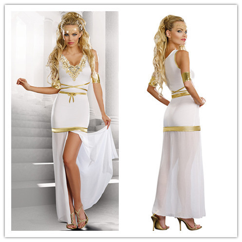 2015 Dress Women Cosplay Classic Halloween Costumes Cleopatra Game costumes Exotic apparel Greek goddess dress suit hot selling(China (Mainland))