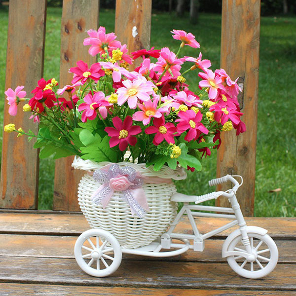 Flower Basket Bicycle Florist Delicate And Mini Bike Basket Decorated  Floats Flower Adornment,Size:23*12.5*9cm,Color: Bike: White; Ribbon:  Blue/pink/purple ...