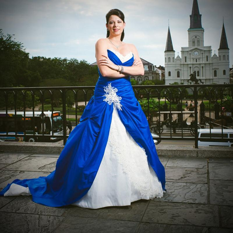 royal blue and white plus size wedding dress