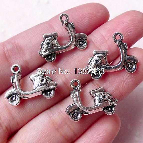 15pcs--Scooter Charms Antique Tibetan Silver Tone Motorbike Vespa Moped Motorcycle pendants charms 19x15mm(China (Mainland))