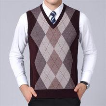 Мужской свитер жилет повседневное плед без рукавов мужской свитеры для женщин V средства ухода за кожей Шеи Вязаный кашемировый пулове(China)