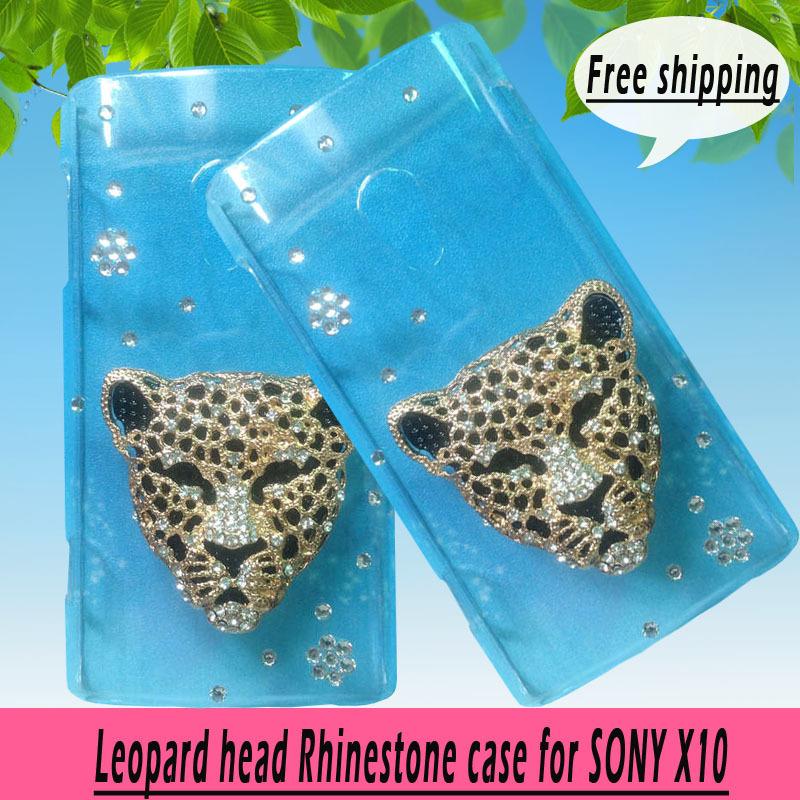 For Sony Ericsson Xperia X10 X case,Bling Crystal rhinestones Colorful Leopard head Cover, diamond case PC skin ,free shipping(China (Mainland))
