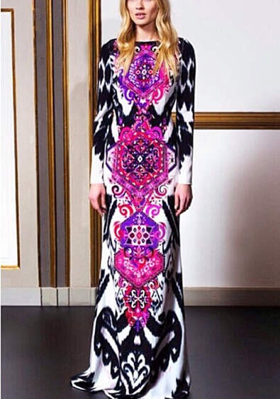 2016 women spring summer fall fashion brand catwalk multicolor floral print Slim long sexy knit bodycon maxi casual dressОдежда и ак�е��уары<br><br><br>Aliexpress