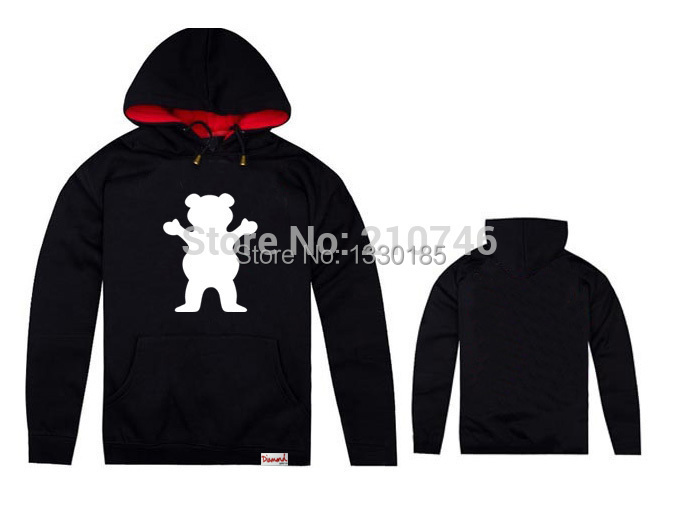 brand new grizzly women hiphop Hooded Pullover diamond supply men casual hoodies co Spell color sweatshirts(China (Mainland))