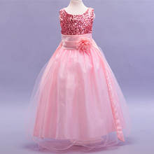 A-line Floor-length Flower Girl Dress with Sequins and Tulle