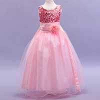 Elegant Sequin Flower Girl Dresses Hot Long Princess Party Infanti Baby Girl Clothes Pageant Kid Prom first communion dresses