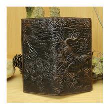 New High Quality Vintage 3D Tiger Prints 100 Genuine Leather Cowhide Men Long Bifold Wallet Card
