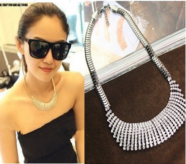 Fashion Rhinestone Crystal Wedding Jewelry Statement Women Necklace Silver Chain Bib Choker Chunky Collar Necklace Collares 2016