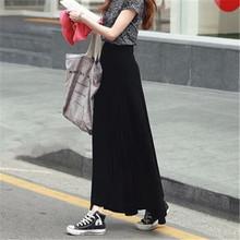 2015 Women Stretchy Long Black  Cotton Modal Skirts Elegant jersey Maxi Skirt High Waist Casual Skirt without split
