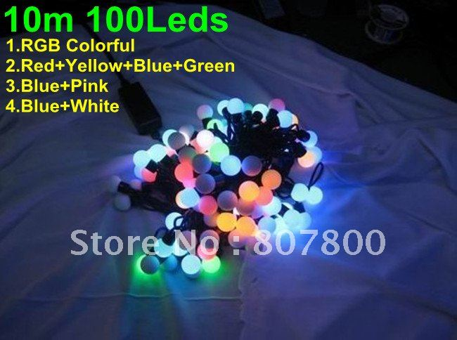 10m 100LEDs LED Ball Light String Multifunction LED String 1 Year Warranty Wedding Hotel Business Building Home Decoration LED(China (Mainland))