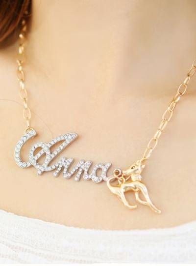 Anna onta letter rhinestone necklace female short design fashion accessories